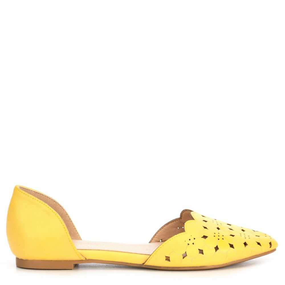 Restricted Womens Garden Flats Shoes Yellow USA - GOOFASH - Womens FLAT SHOES