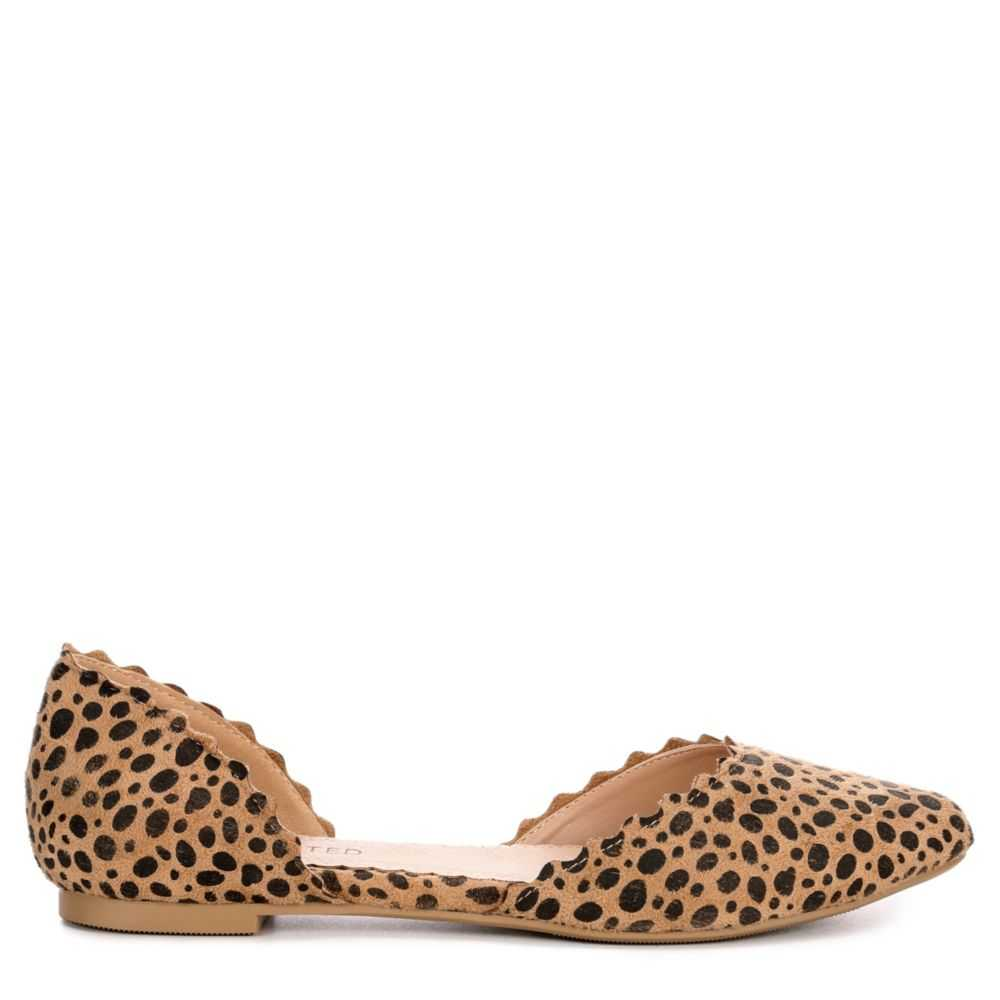Restricted Womens Go Ahead Flats Shoes Leopard USA - GOOFASH - Womens FLAT SHOES