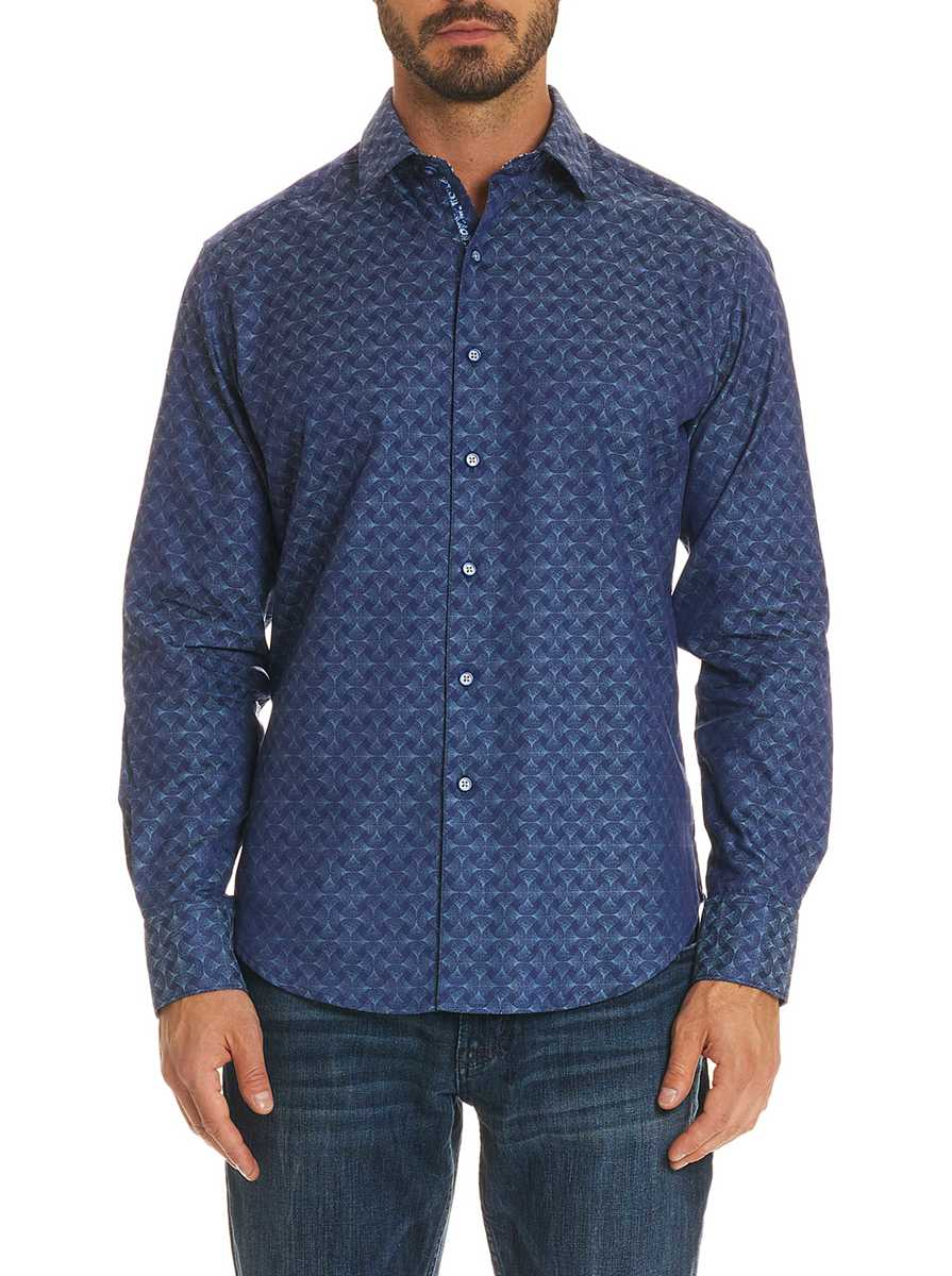 Robert Graham Men's Diamante Sport Shirt Big In Navy USA - GOOFASH