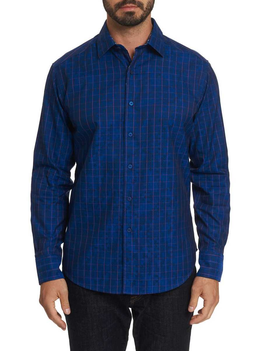 Robert Graham Men's Gladstone Sport Shirt In Navy USA - GOOFASH