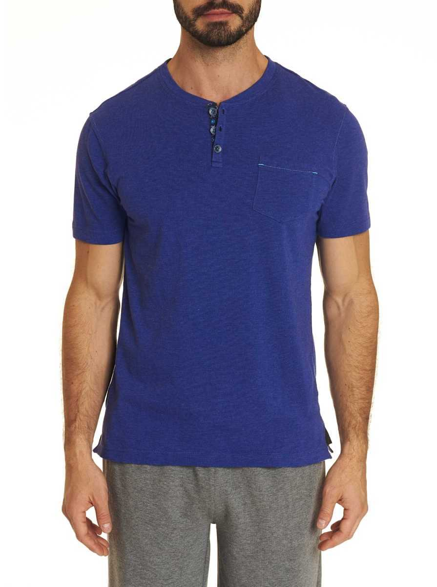 Robert Graham Men's Henley Tee Shirt In Royal USA - GOOFASH