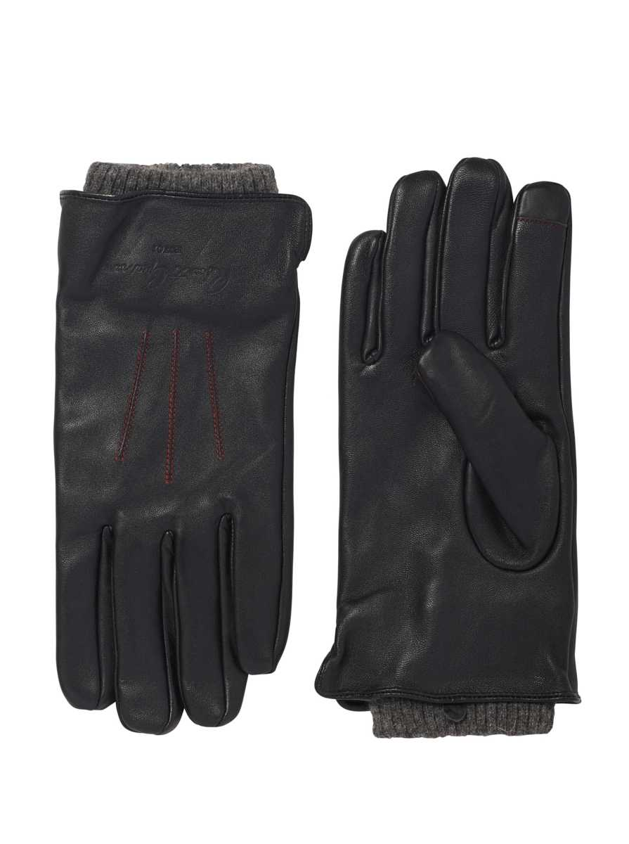Robert Graham Men's Leather Gloves with Knit Cuff In Black USA - GOOFASH