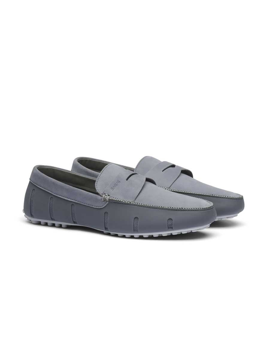 Robert Graham Men's Penny Lux Loafer Driver Nubuck In Alloy/gray USA - GOOFASH