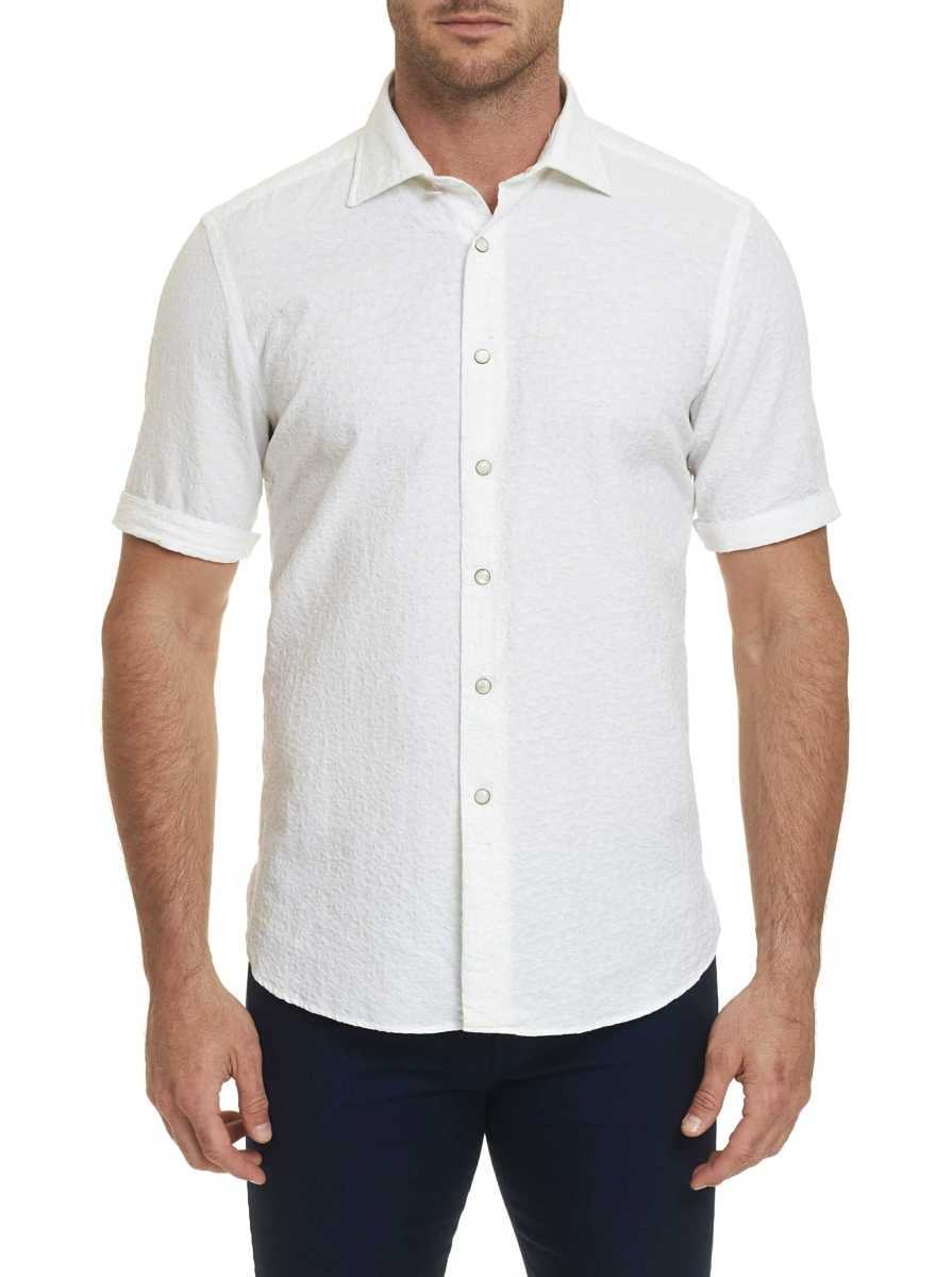 Robert Graham Men's R Collection Romano Short Sleeve Shirt In White USA - GOOFASH