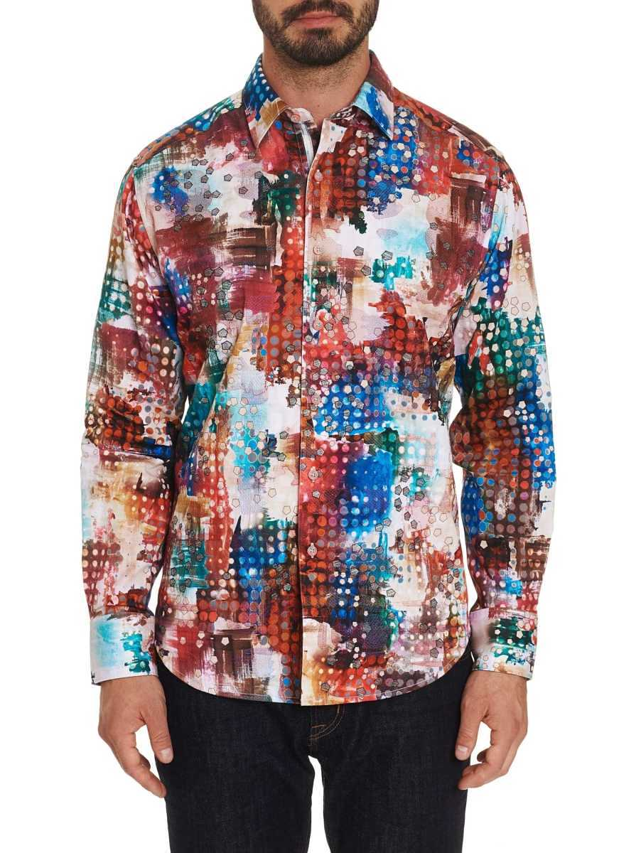 Robert Graham Men's Utopia Embroidered Sport Shirt Big USA - GOOFASH