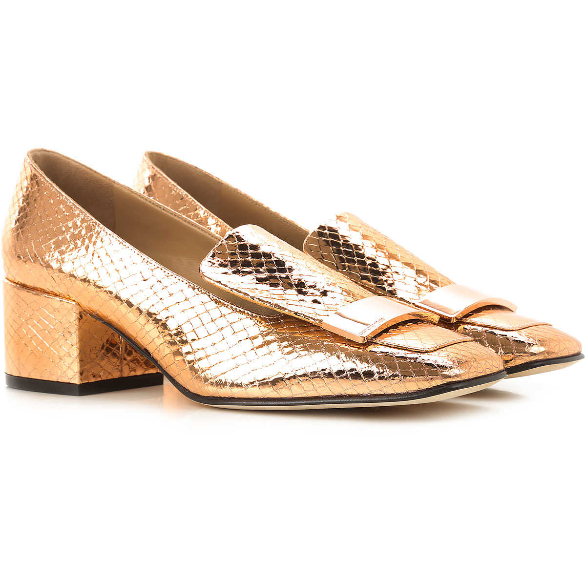 Sergio Rossi Loafers for Women On Sale Golden Pink - GOOFASH