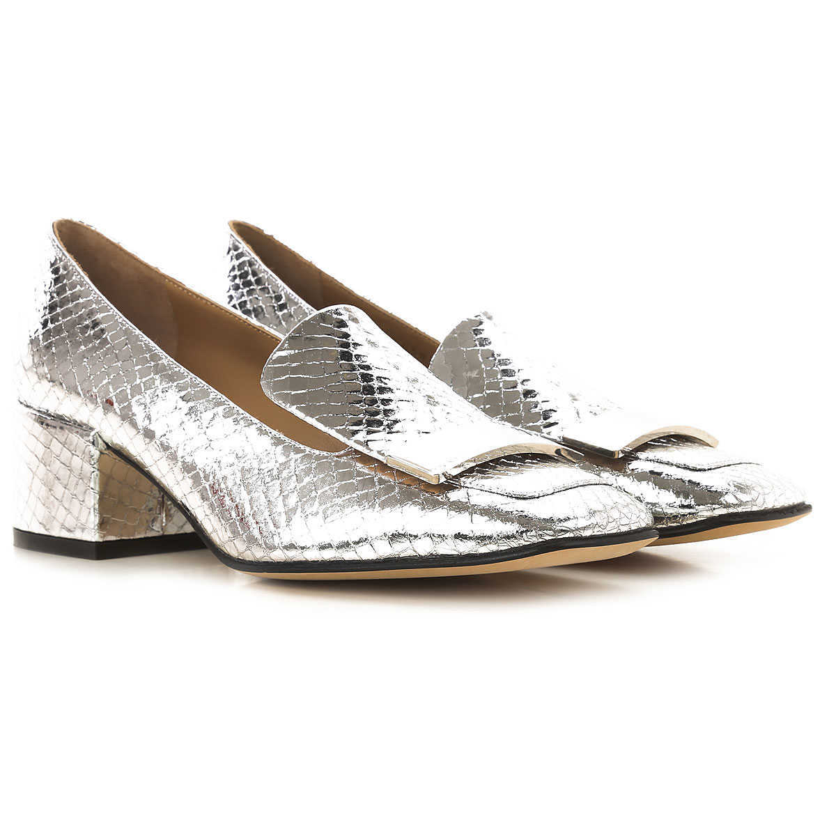 Sergio Rossi Loafers for Women On Sale Silver - GOOFASH