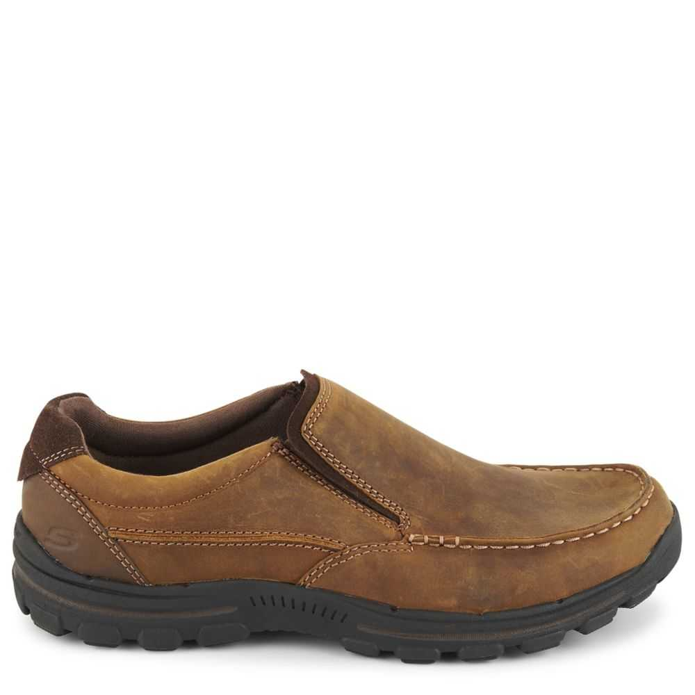 Skechers Mens Braver-Rayland Relaxed Fit Comfort Loafer Loafers Brown USA - GOOFASH - Mens LOAFERS