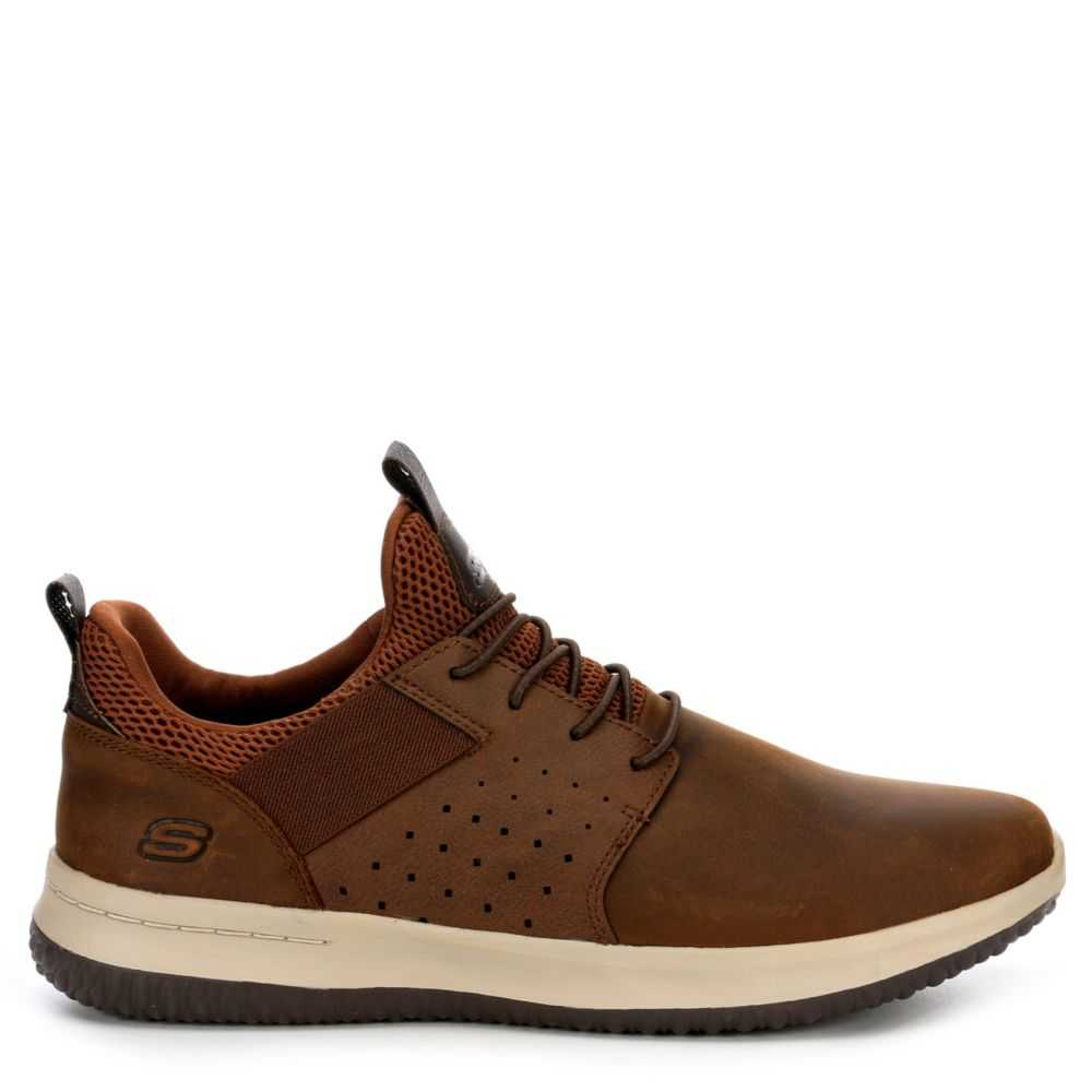 Skechers Mens Delson-Axton Air Cooled Memory Foam Shoes Sneakers Brown USA - GOOFASH - Mens SNEAKER