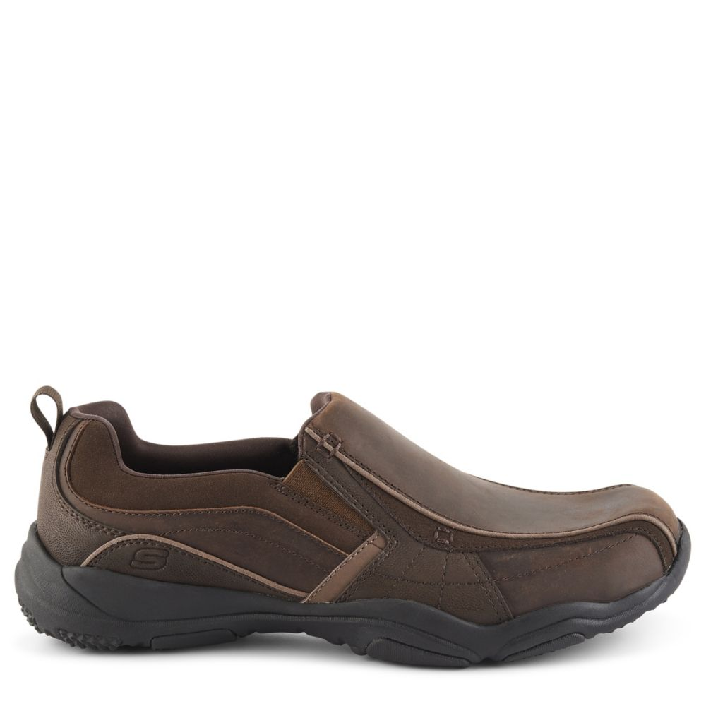 Skechers Mens Larson-Berto Air Cooled Memory Foam Casual Loafer Loafers Dark Brown USA - GOOFASH - Mens LOAFERS