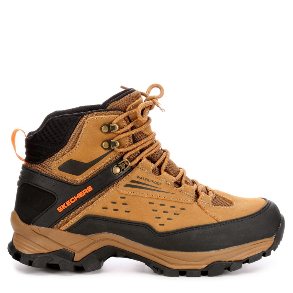 Skechers Mens Polano-Norwood Relaxed Fit Memory Foam Hiking Boot Camel USA - GOOFASH - Mens BOOTS