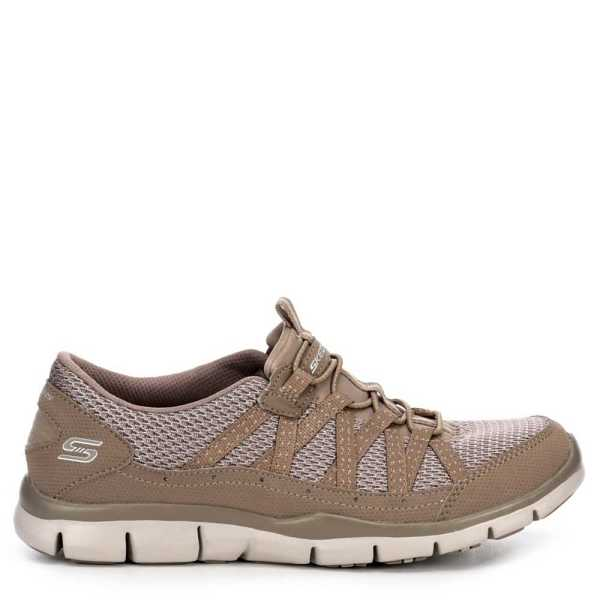 Skechers Womens Gratis Strolling Shoes Sneakers Taupe USA - GOOFASH - Womens SNEAKER