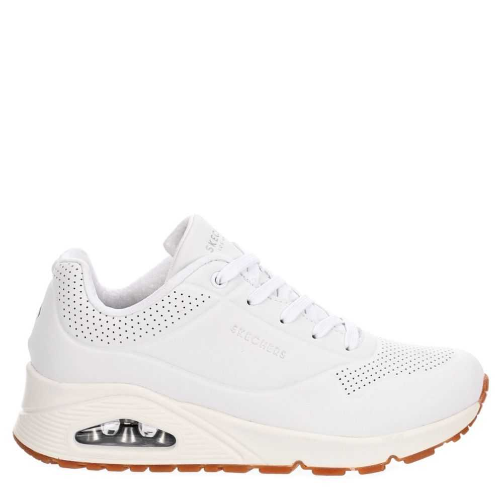 Skechers Womens Skecher Street Uno Stand On Air Shoes Sneakers White USA - GOOFASH - Womens SNEAKER