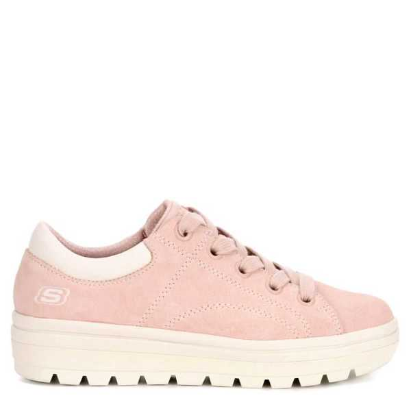 Skechers Womens Street Cleat Shoes Sneakers Pale Pink USA - GOOFASH - Womens SNEAKER