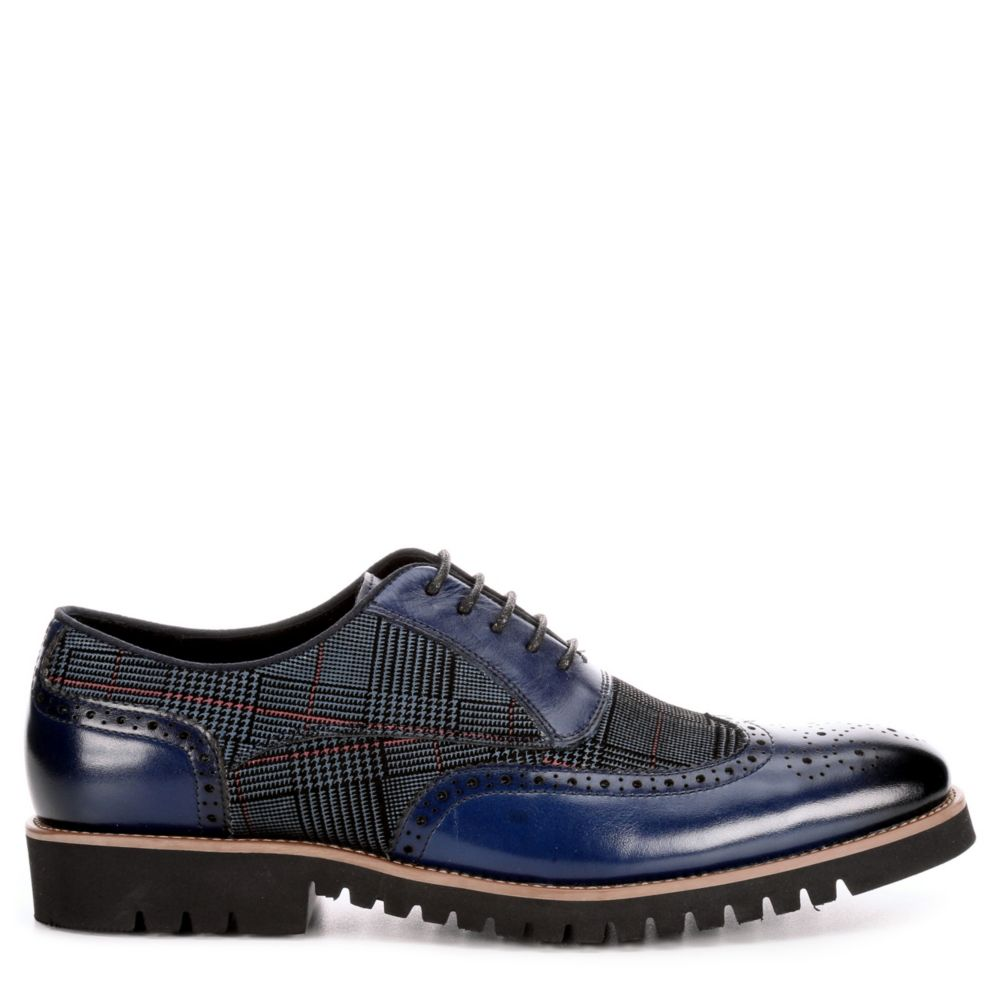 Stacy Adams Mens Baxley Oxfords Navy USA - GOOFASH - Mens LEATHERS SHOES