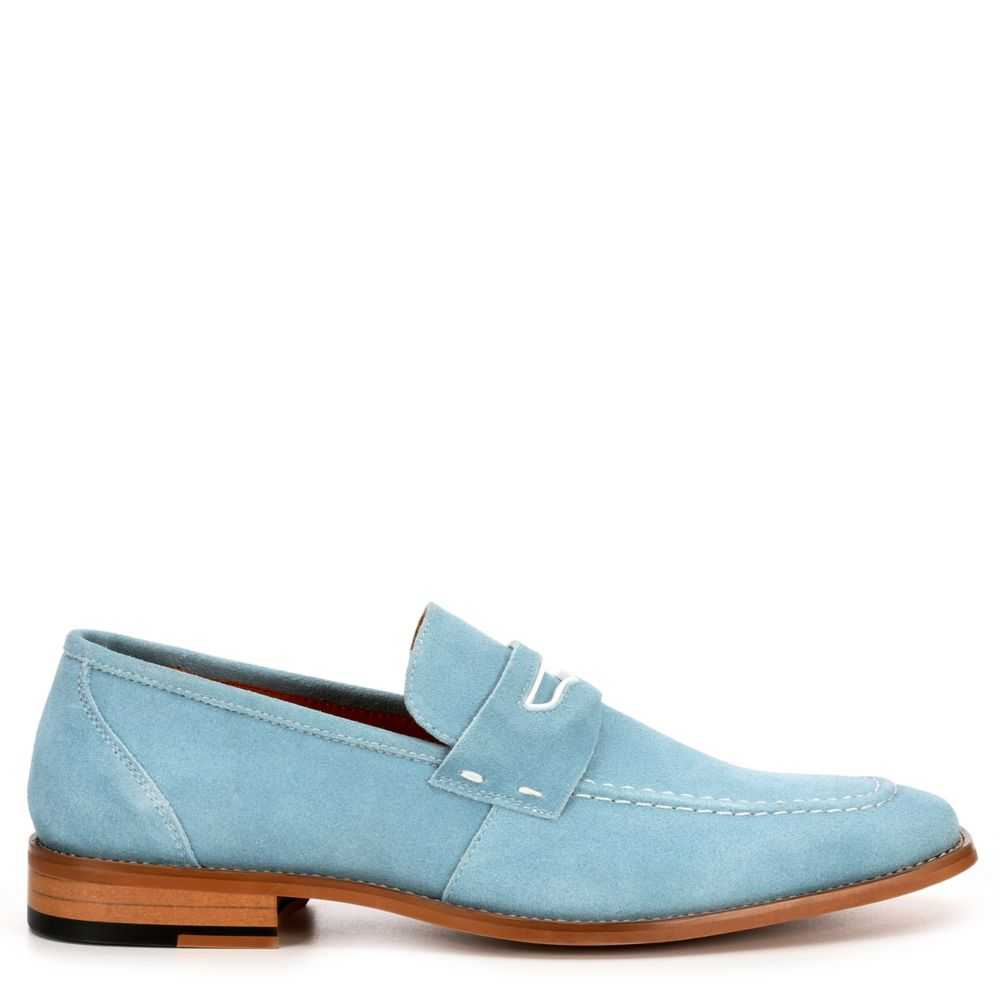 Stacy Adams Mens Colfax Loafers Pale Blue USA - GOOFASH - Mens LOAFERS