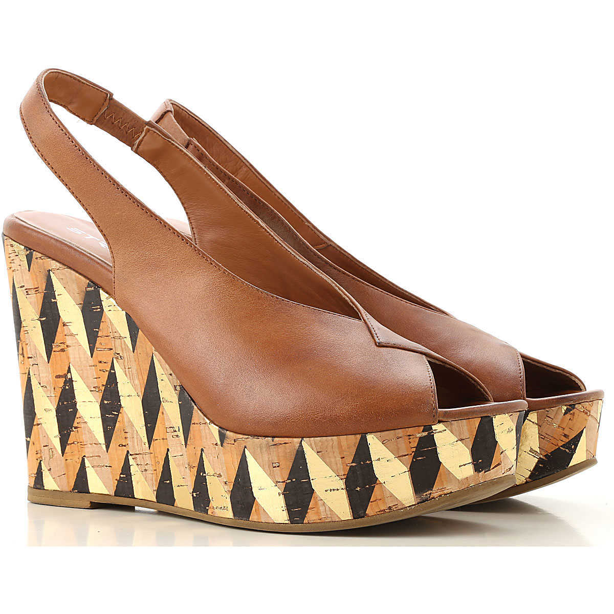 Strategia Wedges for Women On Sale Leather Brown - GOOFASH