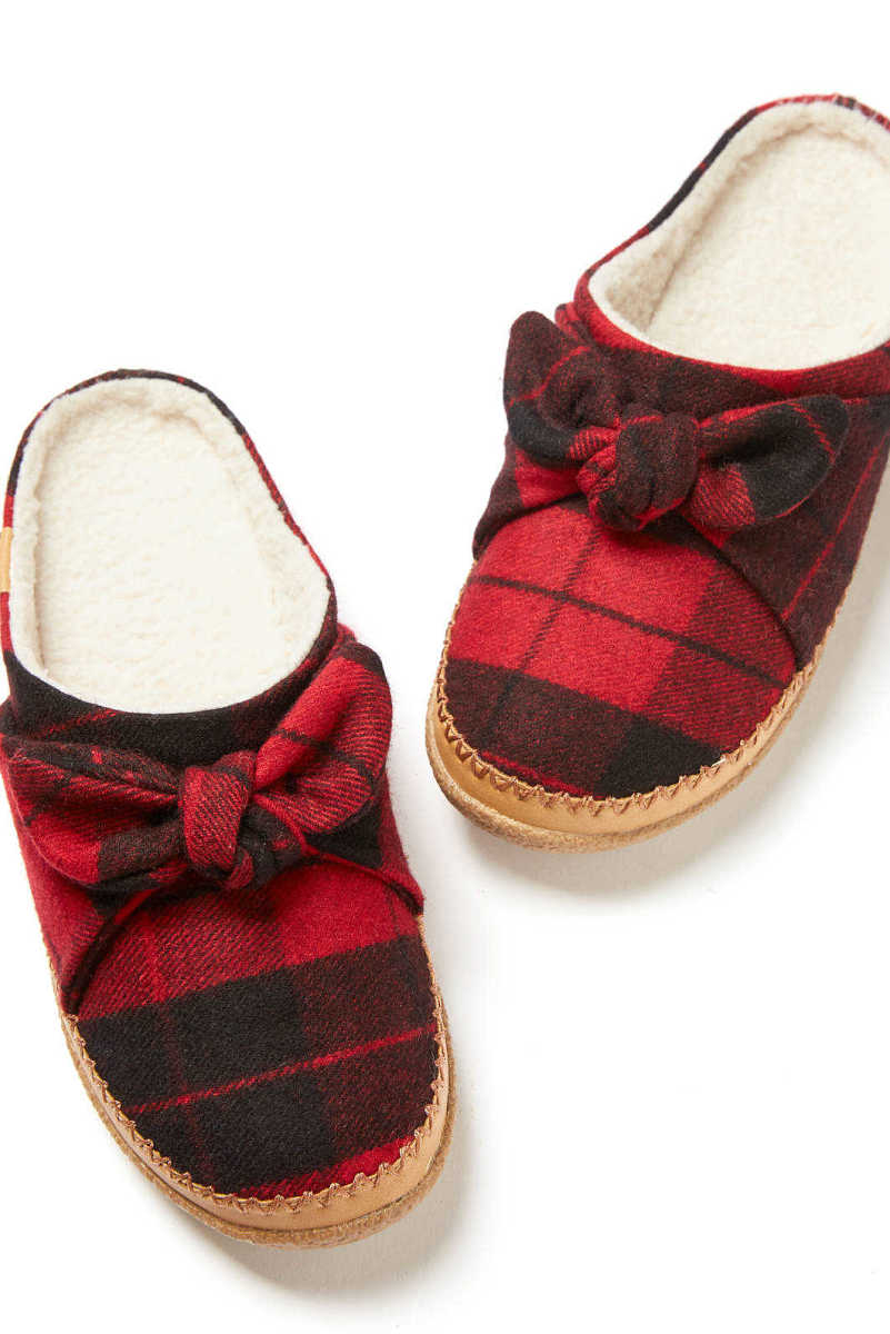 TOMS Red Plaid Bow Ivy Slipper Red Multi 6 USA - GOOFASH
