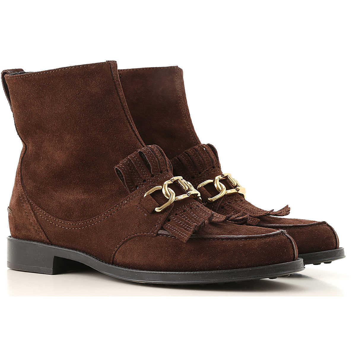 Tods Chelsea Boots for Women On Sale Dark Brown - GOOFASH
