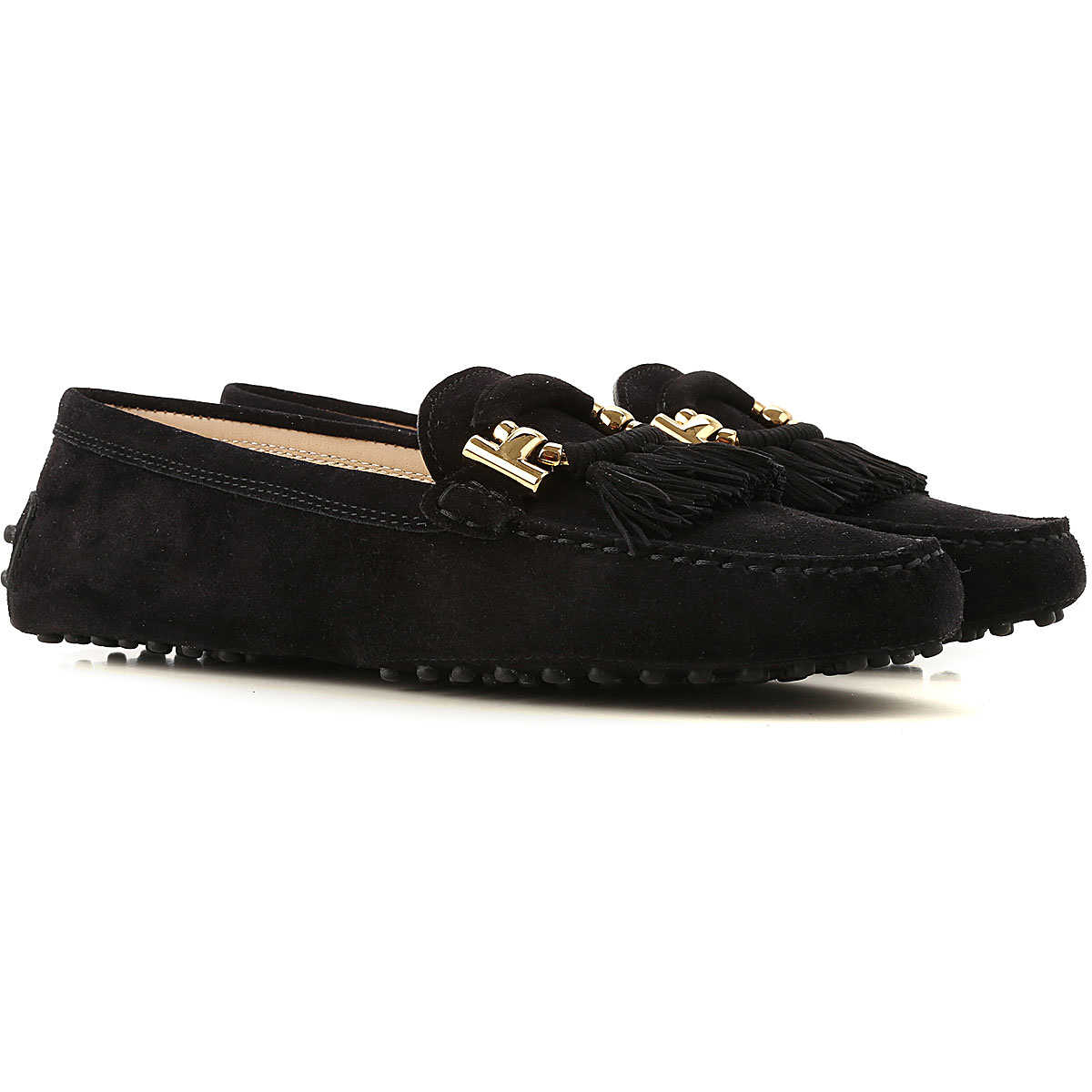 Tods Driver Loafer Shoes for Women On Sale Black UK - GOOFASH