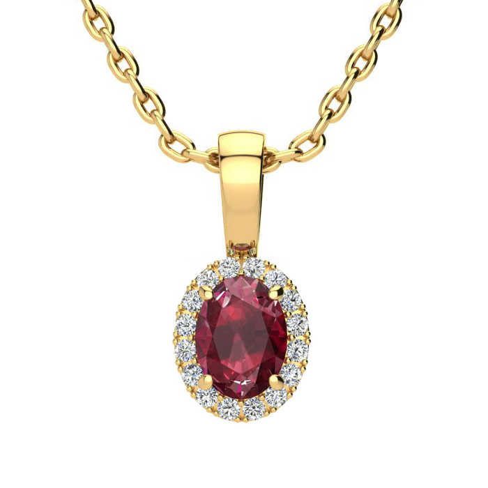 0.62 Carat Oval Shape Ruby & Halo Diamond Necklace in 10K Yellow Gold w/ 18 Inch Chain