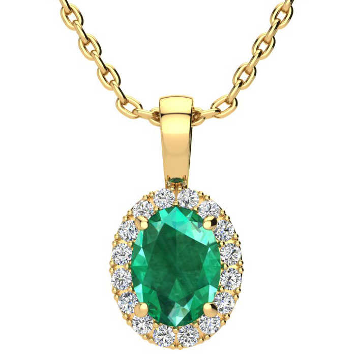 1 1/3 Carat Oval Shape Emerald Cut & Halo Diamond Necklace in 10K Yellow Gold w/ 18 Inch Chain