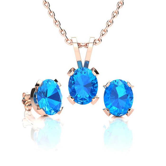 1 2/3 Carat Oval Shape Blue Topaz Necklace & Earring Set in 14K Rose Gold Over Sterling Silver UK - GOOFASH - Womens TOPS