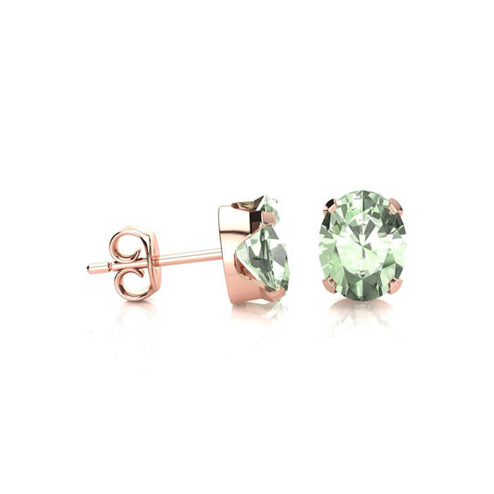 1 Carat Oval Shape Aquamarine Stud Earrings in 14K Rose Gold Over Sterling Silver UK - GOOFASH - Womens JEWELRY