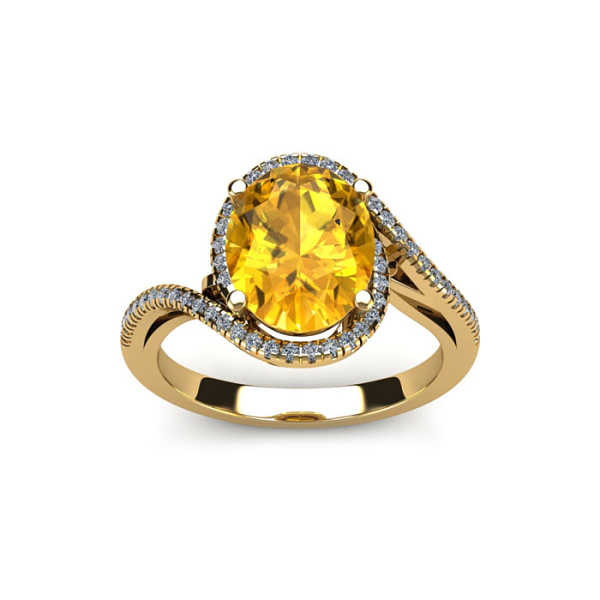 1 Carat Oval Shape Citrine & Halo Diamond Ring in 14K Yellow Gold (4.3 g)