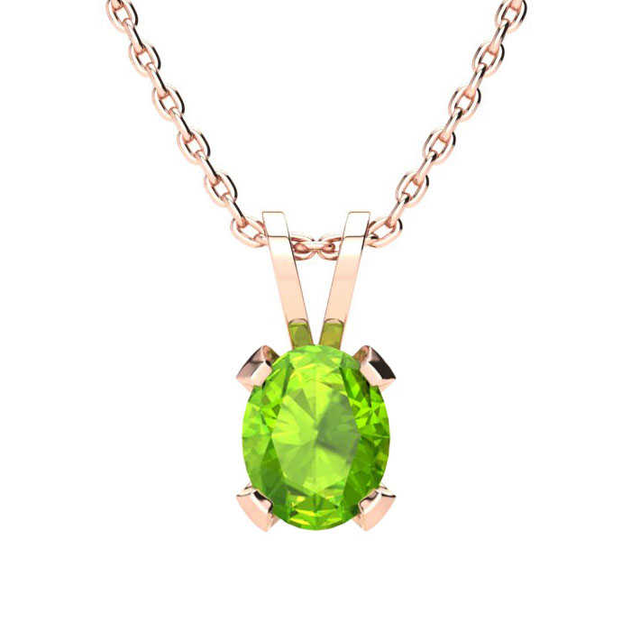 1 Carat Oval Shape Peridot Necklace in 14K Rose Gold Over Sterling Silver