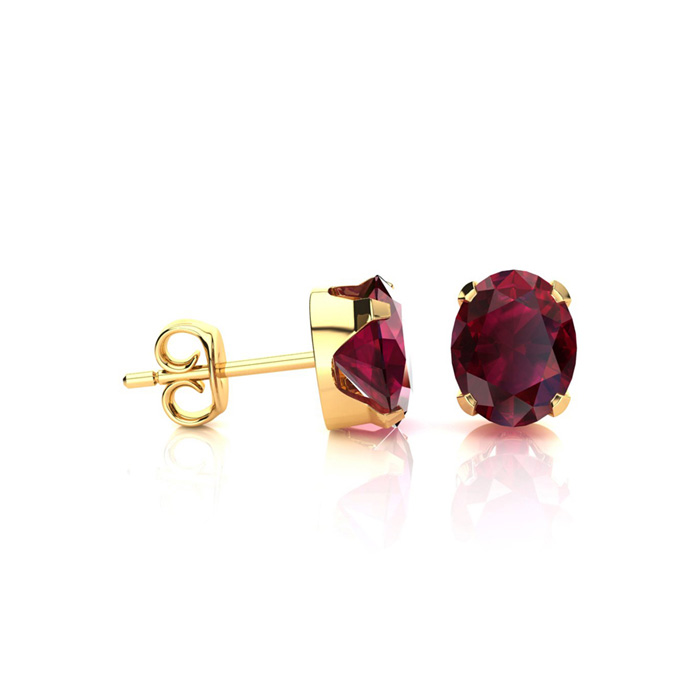 1 Carat Oval Shape Ruby Stud Earrings in 14K Yellow Gold Over Sterling Silver UK - GOOFASH - Womens JEWELRY