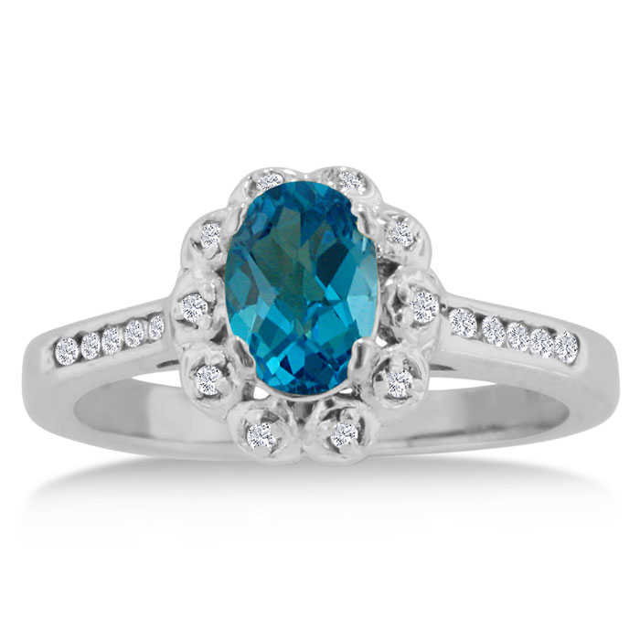 1.25 Carat Oval Blue Topaz & Diamond Ring Crafted in Solid 14K White Gold