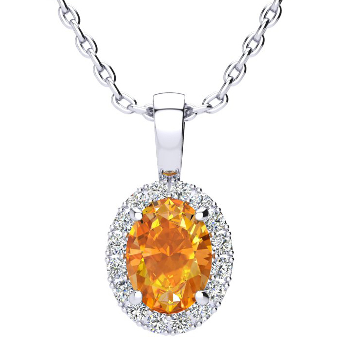 1.25 Carat Oval Shape Citrine & Halo Diamond Necklace in 14K White Gold w/ 18 Inch Chain