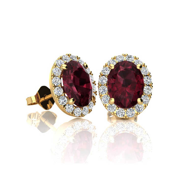 1.25 Carat Oval Shape Garnet & Halo Diamond Stud Earrings in 10K Yellow Gold