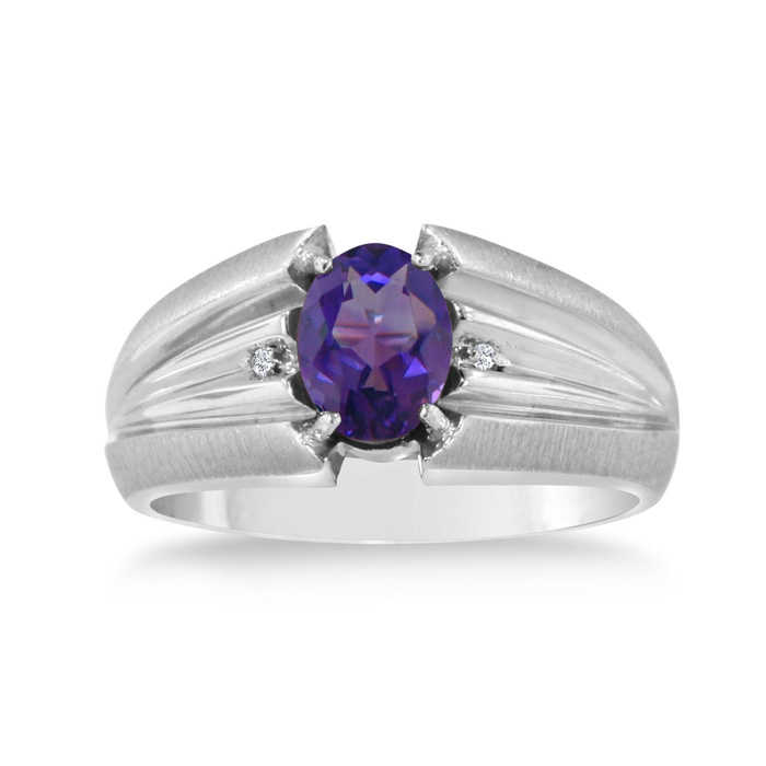 1.5 Carat Oval Amethyst & Diamond Men's Ring Crafted in Solid 14K White Gold