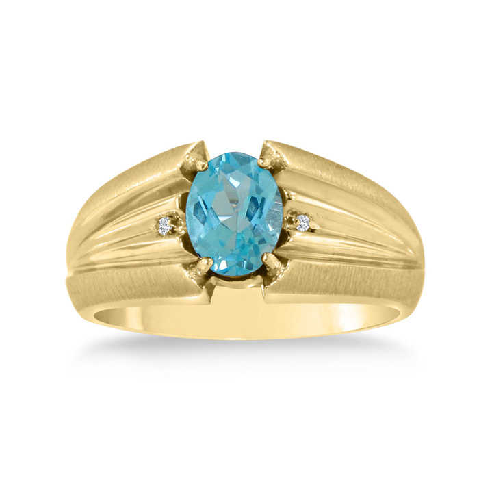 1.5 Carat Oval Blue Topaz & Diamond Men's Ring Crafted in Solid 14K Yellow Gold