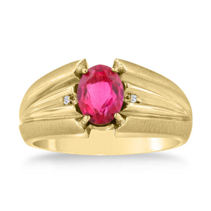 1.5 Carat Oval Created Ruby & Diamond Men's Ring Crafted in Solid 14K Yellow Gold