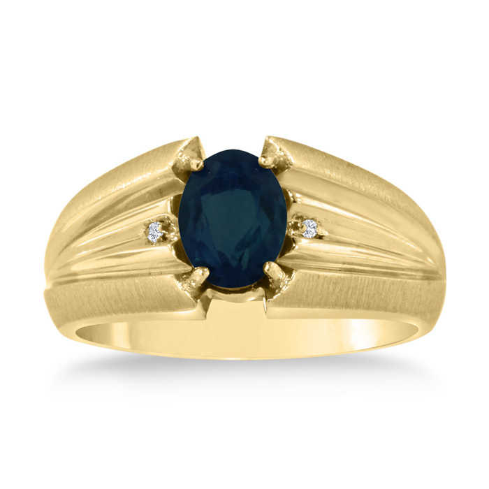 1.5 Carat Oval Created Sapphire & Diamond Men's Ring Crafted in Solid 14K Yellow Gold