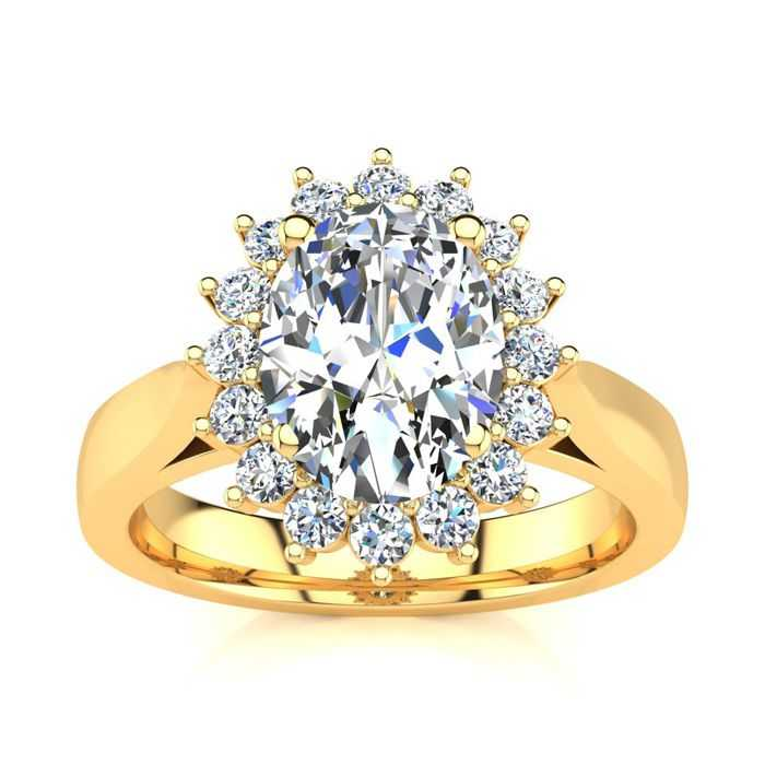 1.5 Carat Oval & Round Diamond Classic Engagement Ring in 14K Yellow Gold (4 g) (H-I