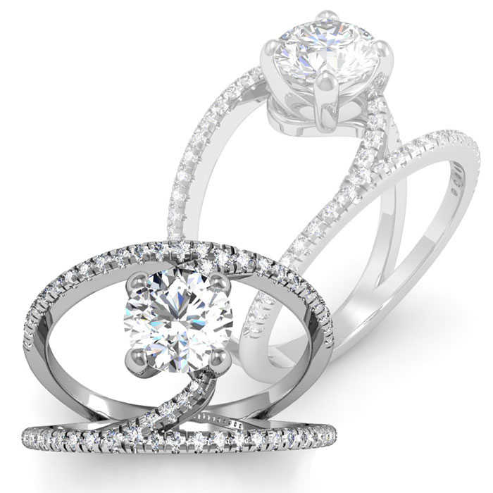 1.50 Carat Open Band Engagement Ring in 14K White Gold (4.6 g)