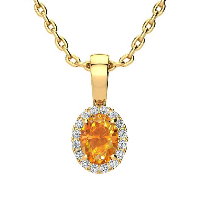 1/2 Carat Oval Shape Citrine & Halo Diamond Necklace in 10K Yellow Gold w/ 18 Inch Chain