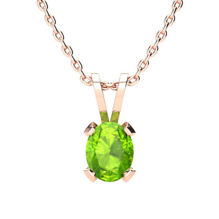 1/2 Carat Oval Shape Peridot Necklace in 14K Rose Gold Over Sterling Silver