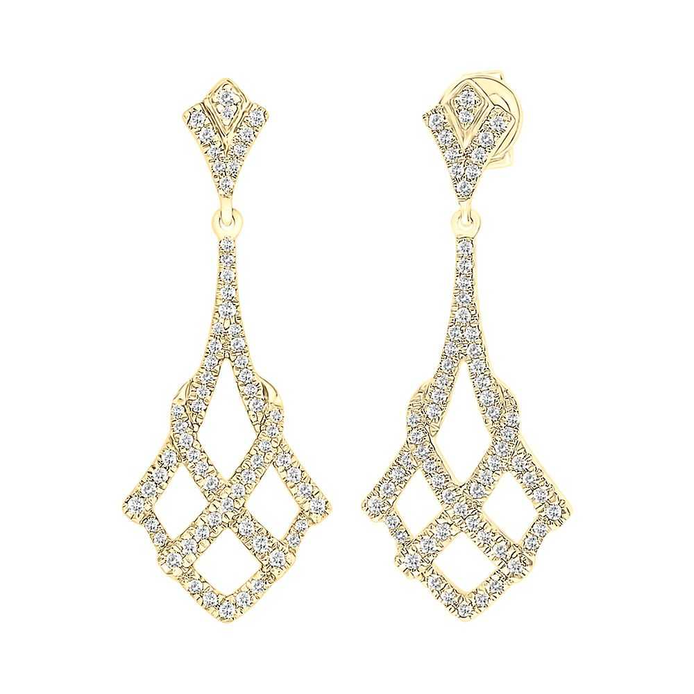1/2 ct. tw. Diamond Drop Earrings in 10K Yellow Gold - Helzberg Diamonds USA - GOOFASH - Womens JEWELRY
