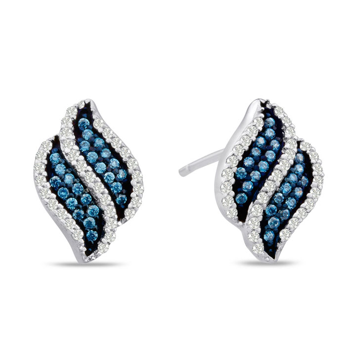 1/3 Carat Blue & White Diamond Swirl Stud Earrings in Sterling Silver