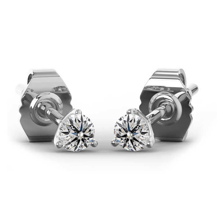 1/3 Carat Natural Genuine Diamond Stud Earrings in Martini Setting