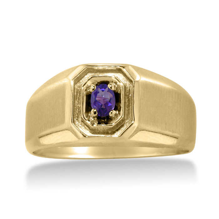 1/4 Carat Oval Amethyst Men's Ring Crafted in Solid 14K Yellow Gold UK - GOOFASH - Mens JEWELRY