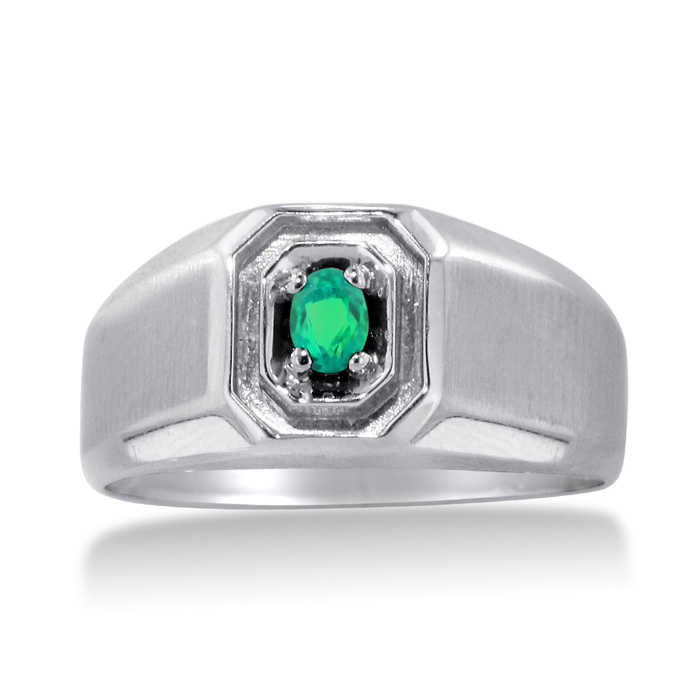 1/4 Carat Oval Created Emerald Men's Ring Crafted in Solid White Gold UK - GOOFASH - Mens JEWELRY
