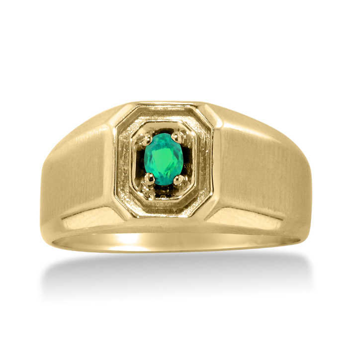1/4 Carat Oval Created Emerald Men's Ring Crafted in Solid Yellow Gold