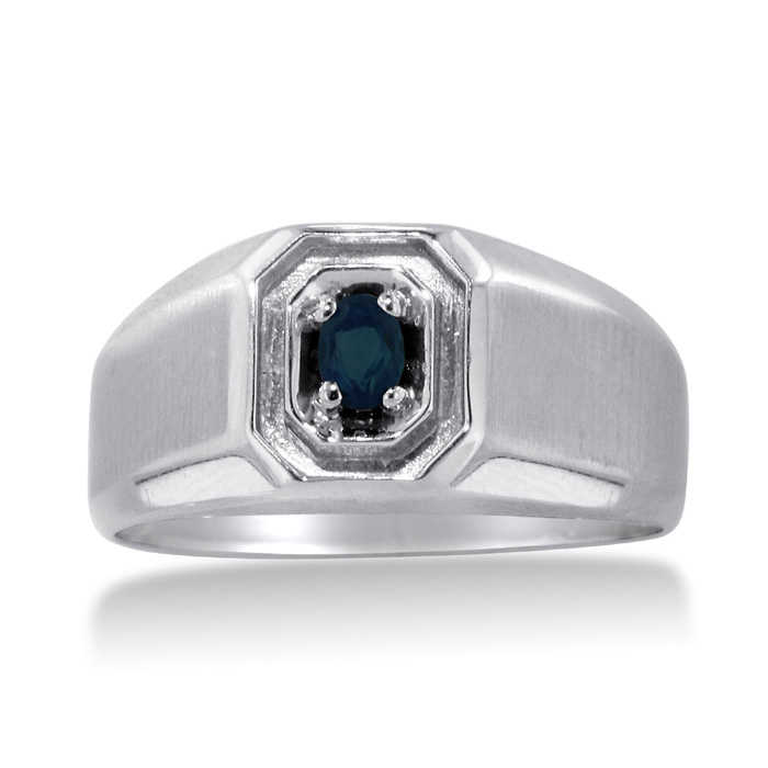 1/4 Carat Oval Created Sapphire Men's Ring Crafted in Solid 14K White Gold UK - GOOFASH - Mens JEWELRY