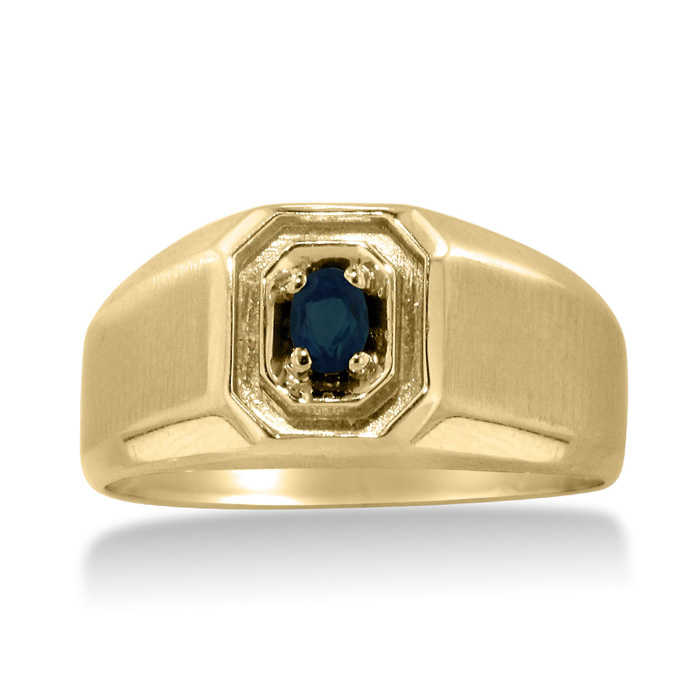 1/4 Carat Oval Created Sapphire Men's Ring Crafted in Solid Yellow Gold UK - GOOFASH - Mens JEWELRY